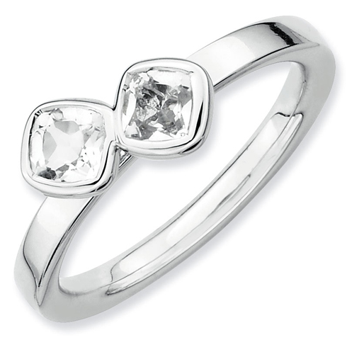 Sterling Silver Stackable Cushion Cut White Topaz Duo Ring