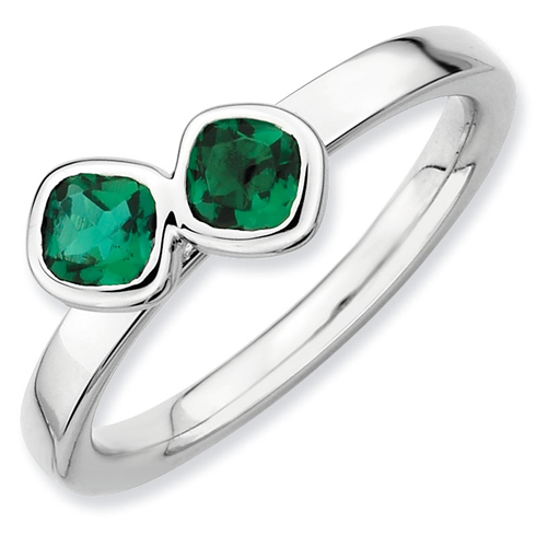Sterling Silver Stackable Cushion Cut Created Emerald Duo Ring