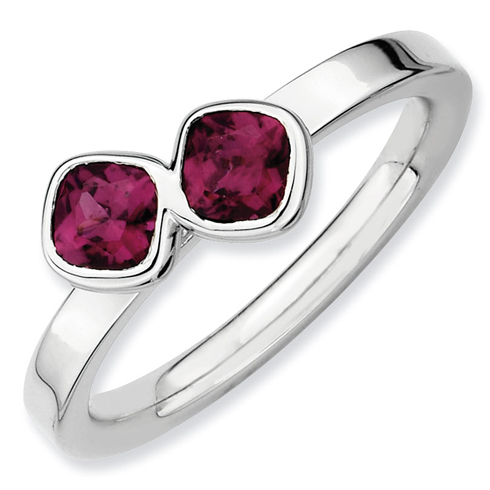 Sterling Silver Stackable Cushion Cut Rhodolite Garnet Duo Ring