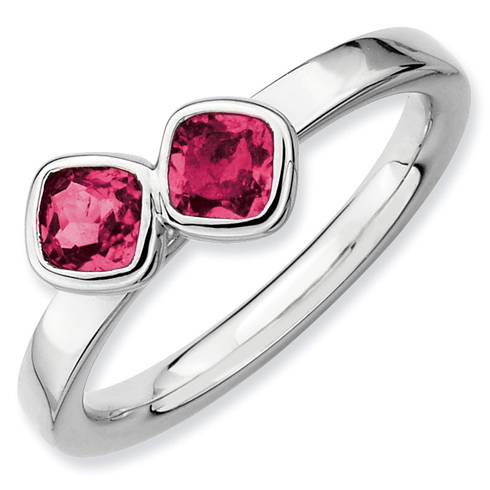 Sterling Silver Stackable 3/4 ct Cushion Cut Created Ruby Duo Ring