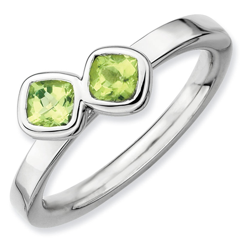 Sterling Silver Stackable Expressions Db Cushion Cut Peridot Ring