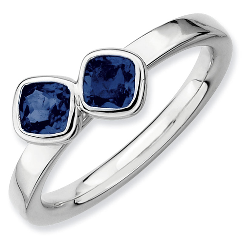 Sterling Silver Stackable Cushion Cut Created Sapphire Duo Ring