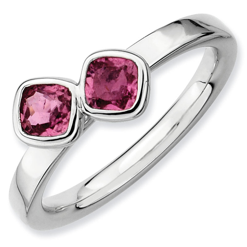 Sterling Silver Stackable Cushion Cut Pink Tourmaline Duo Ring