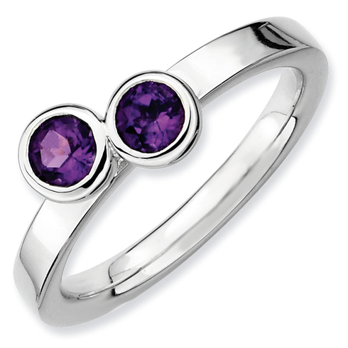 Sterling Silver Stackable Double Round Amethyst Ring