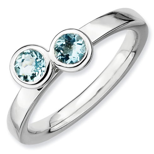 Sterling Silver Stackable 1/2 ct Double Round Aquamarine Ring