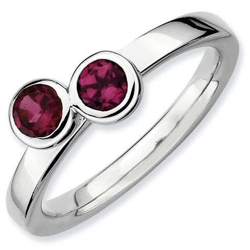 Sterling Silver Stackable Round Rhodolite Garnet Duo Ring