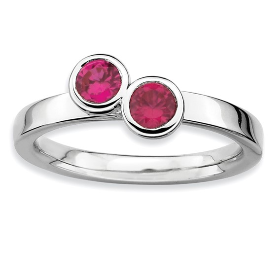 Sterling Silver Stackable Expressions Db Round Created Ruby Ring