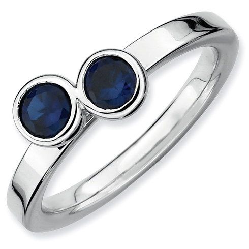Sterling Silver Stackable Expressions Double Created Sapphire Ring