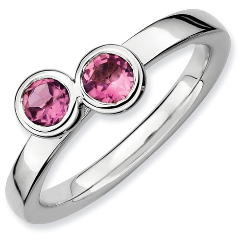 Sterling Silver Stackable Expressions Double Pink Tourmaline Ring