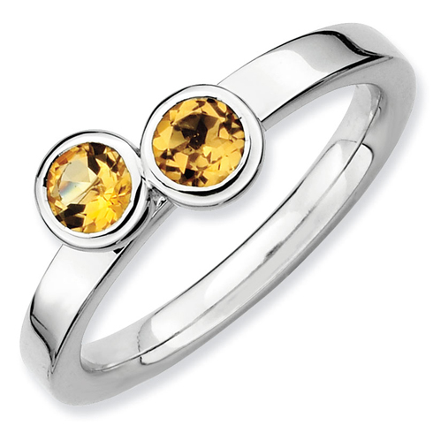 Sterling Silver Stackable 1/2 ct Double Round Citrine Ring