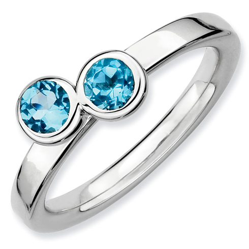 Sterling Silver Stackable Expressions Double Round Blue Topaz Ring