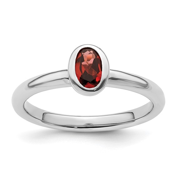 Sterling Silver Stackable Expressions Oval Garnet Ring