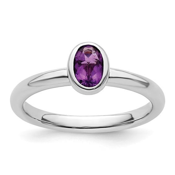 Sterling Silver Stackable Expressions Oval Amethyst Ring