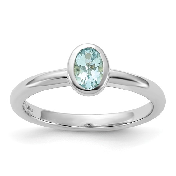 Sterling Silver Stackable Expressions 2/5 ct Oval Aquamarine Ring