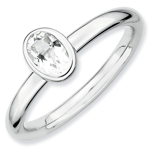 Sterling Silver Stackable Expressions Oval White Topaz Ring