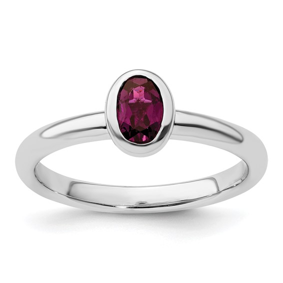 Sterling Silver Stackable Expressions Oval Rhodolite Garnet Ring