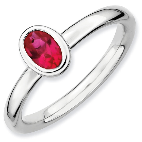 Sterling Silver Stackable Expressions Oval Created Ruby Ring