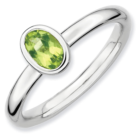 Sterling Silver Stackable Expressions Oval Peridot Ring