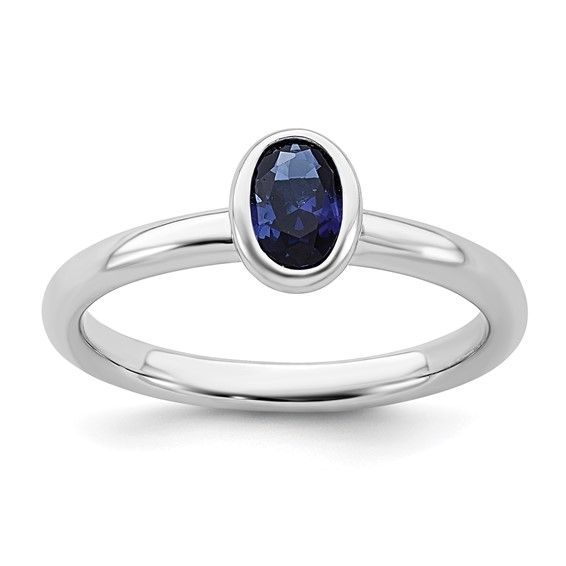 Sterling Silver Stackable Expressions Oval Created Sapphire Ring