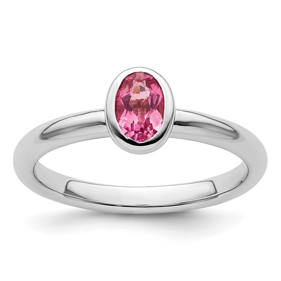Sterling Silver Stackable Expressions Oval Pink Tourmaline Ring