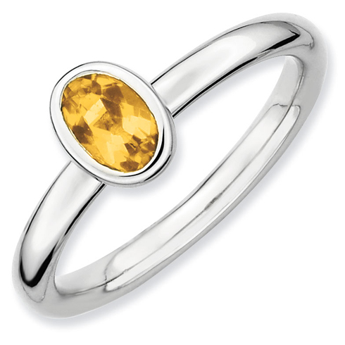 Sterling Silver Stackable Expressions Oval 2/5 ct Citrine Ring