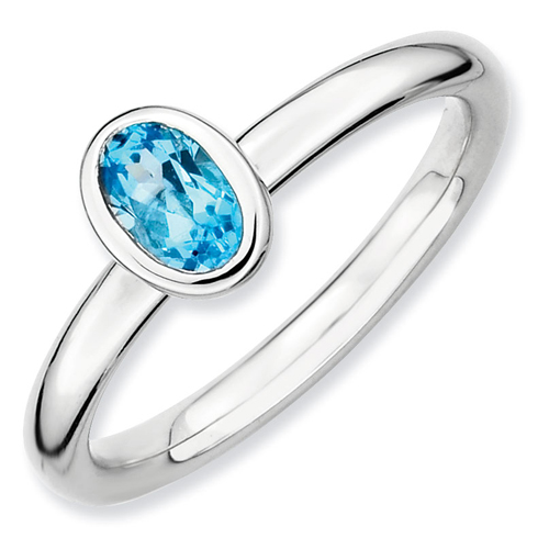 Sterling Silver Stackable Expressions Oval Blue Topaz Ring