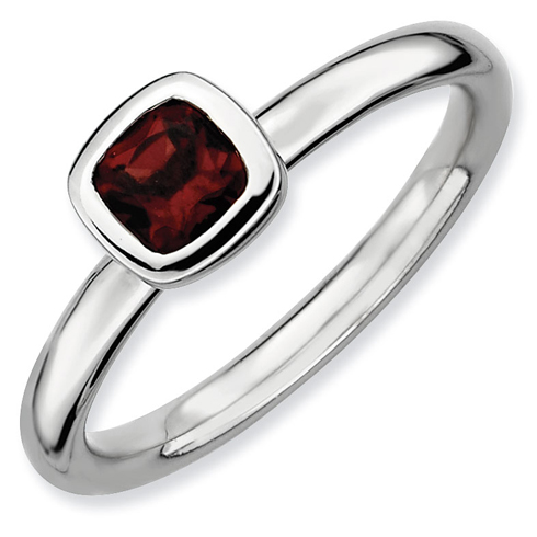 Sterling Silver Stackable Expressions Cushion Cut Garnet Ring