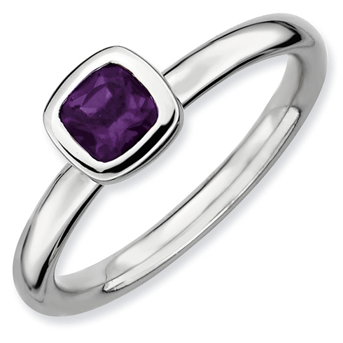 Sterling Silver Stackable Expressions Cushion Cut Amethyst Ring