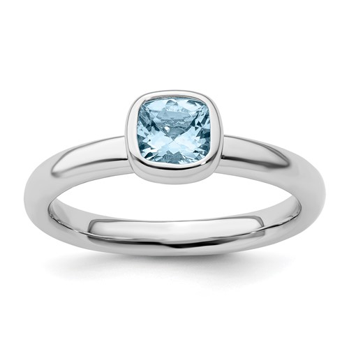 Sterling Silver Stackable 1/2 ct Cushion Cut Aquamarine Ring