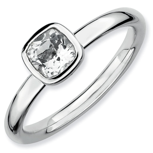 Sterling Silver Stackable Cushion Cut White Topaz Ring