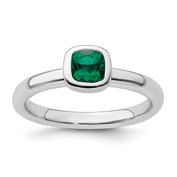 Sterling Silver Stackable 1/2 ct Cushion Cut Created Emerald Ring