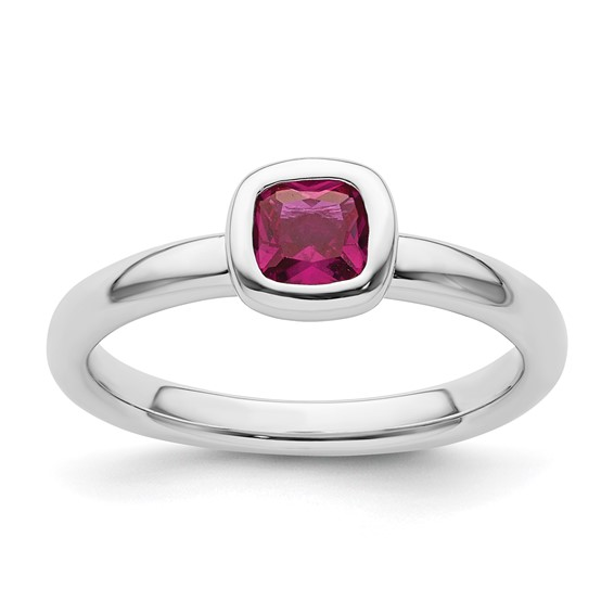 Sterling Silver Stackable 2/3 ct Cushion Cut Created Ruby Ring