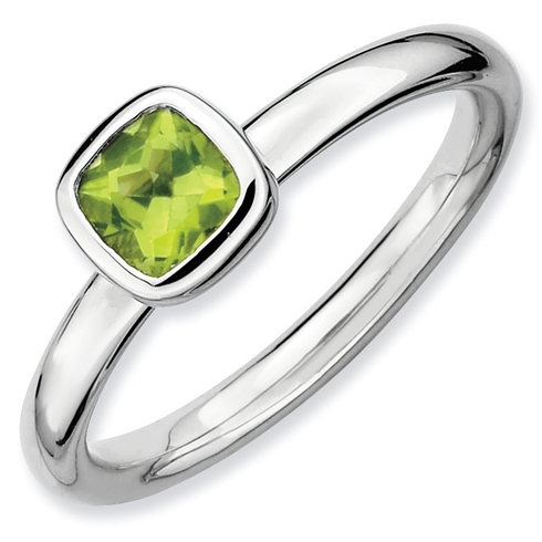Sterling Silver Stackable Cushion Cut Peridot Ring