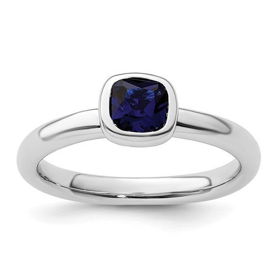Sterling Silver Stackable Cushion Cut Created Sapphire Ring