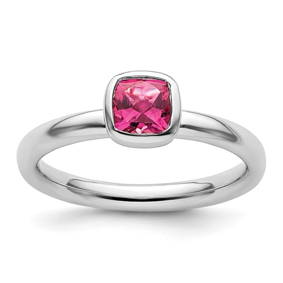 Sterling Silver Stackable 1/2 ct Cushion Cut Pink Tourmaline Ring
