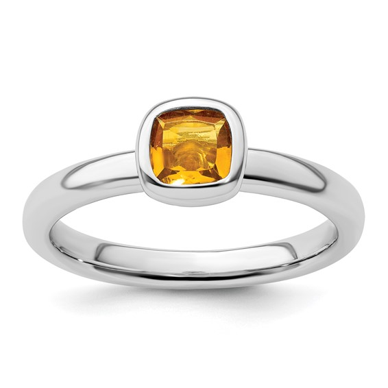 Sterling Silver Stackable Cushion Cut Citrine Ring