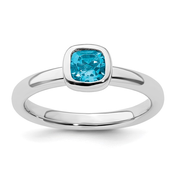 Sterling Silver Stackable Cushion Cut Blue Topaz Ring