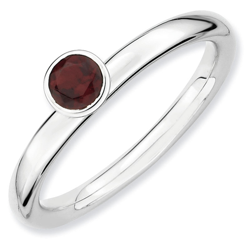 Sterling Silver Stackable High Profile 4mm Garnet Ring