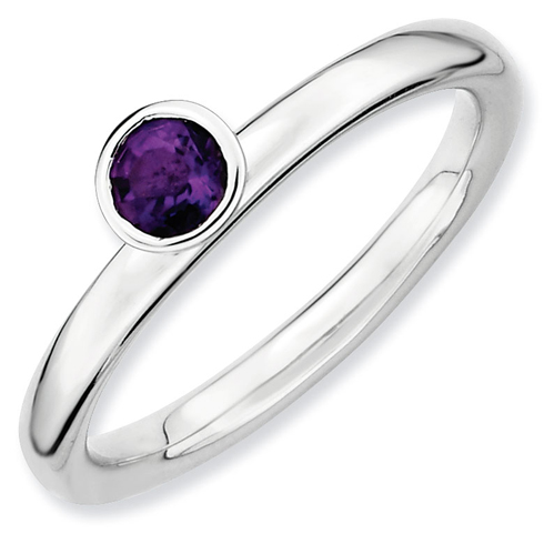 Sterling Silver Stackable High Profile 4mm Amethyst Ring