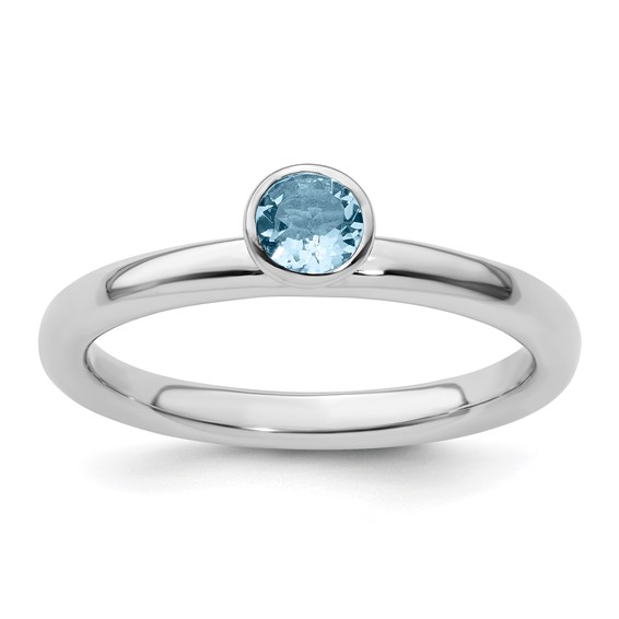 Sterling Silver Stackable High Profile 4mm Aquamarine Ring