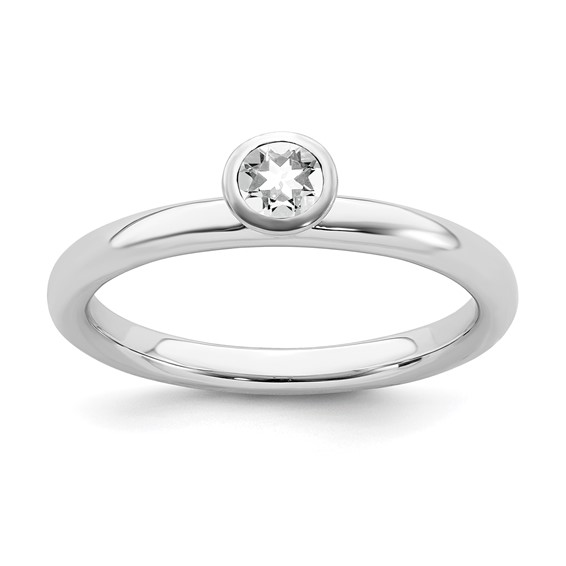 Sterling Silver Stackable High Profile 4mm White Topaz Ring