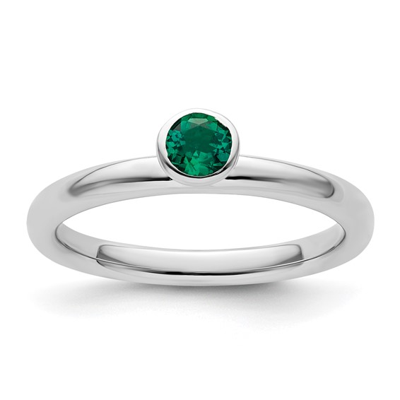 Sterling Silver Stackable High Profile 4mm Created Emerald Ring