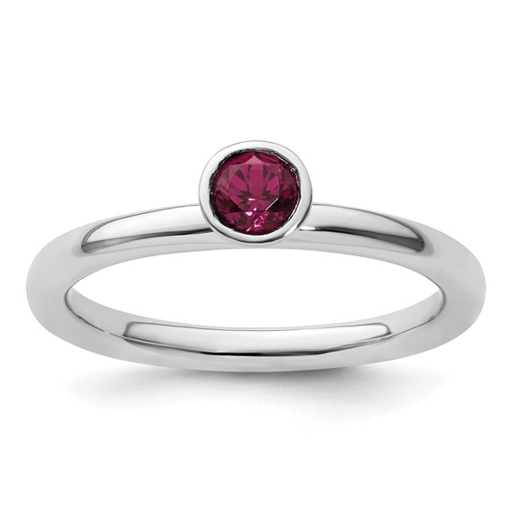 Sterling Silver Stackable High Profile 4mm Rhodolite Garnet Ring