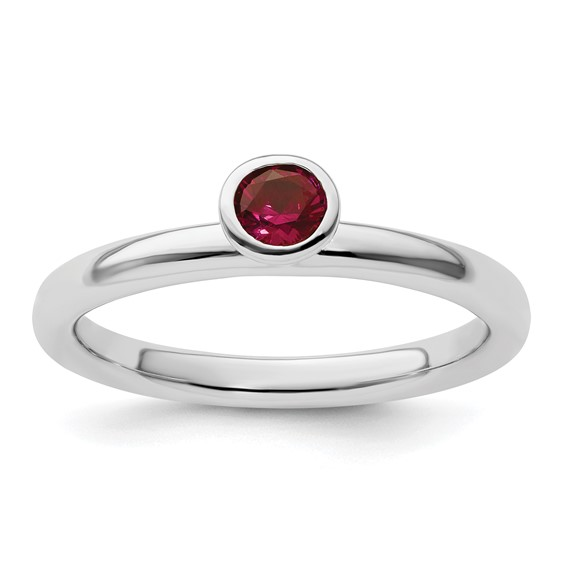 Sterling Silver Stackable High Profile 4mm Created Ruby Ring