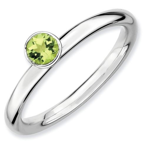 Sterling Silver Stackable High Profile 4mm Peridot Ring