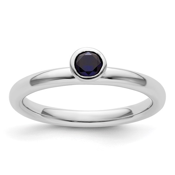 Sterling Silver Stackable High Profile 4mm Created Sapphire Ring