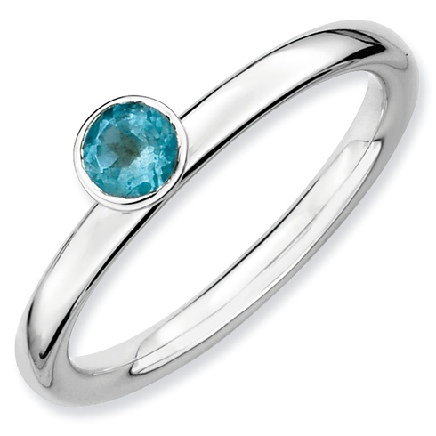 Sterling Silver Stackable High Profile 4mm Blue Topaz Ring