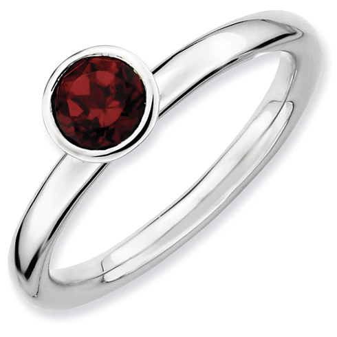 Sterling Silver Stackable High Profile 5mm Garnet Ring