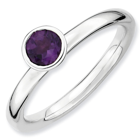 Sterling Silver Stackable High Profile 5mm Amethyst Ring