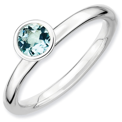 Sterling Silver Stackable High Profile 5mm Aquamarine Ring